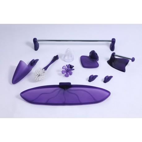 Zestaw łazienkowy FRUTTI fioletowy NOWOŚĆ | 8 elementów