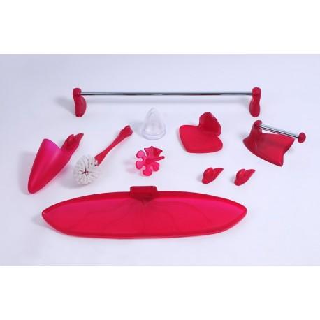 Zestaw łazienkowy FRUTTI czerwony NOWOŚĆ | 8 elementów